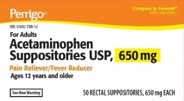 Acetaminophen 650mg Suppositories - 50 Count Unit Dose Packaging