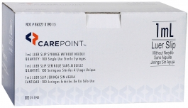 CarePoint Luer Slip Syringe Without Needle 1cc - 100ct