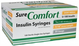 "SureComfort Insulin Syringe 30 Gauge, 1cc, 5/16"" Needle - 100 Count"