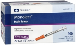 "Monoject Insulin Syringe 29 Gauge, 3/10cc, 1/2""- 100ct"