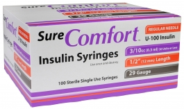 "SureComfort Insulin Syringe 29 Gauge, 3/10cc, 1/2"" Needle - 100 Count"
