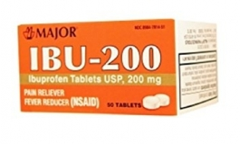 Major Ibuprofen 200mg White Tablets - 50 Count Bottle