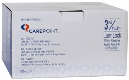 "CarePoint Luer Lock Insulin Syringe, 25 Gauge, 3cc, 1 1/2"" Needle - 100ct"
