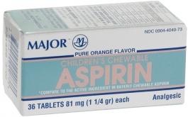 Major Children's Chewable Aspirin 81mg 36 Tablets