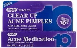 Rugby Acne Medication Benzoyl Peroxide Gel USP 10% - 1.5oz