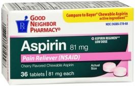 Good Neighbor Pharmacy 81 MG Aspirin Cherry Flavor Chewable 36ct