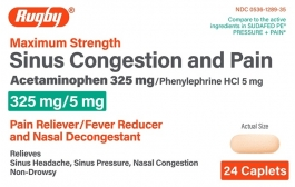 Rugby Maximum Strength Sinus Congestion and Pain Caplets, 24 ct