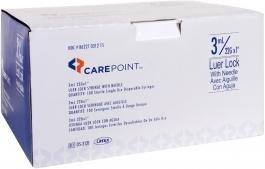 """CarePoint Luer Lock Insulin Syringe, 22 Gauge, 3cc, 1"""" Needle - 100ct"""