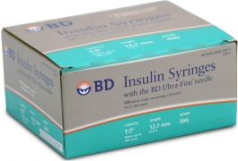 "BD Ultrafine Insulin Syringe 30 Gauge, 1cc, 1/2"" Needle - 100 Count"