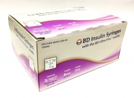 "BD Ultra-Fine II Insulin Syringe  31 Gauge,  3/10cc, 5/16"" Needle (1/2 unit Markings) - 100ct"