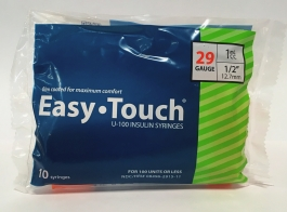 "EasyTouch Insulin Syringe 29 Gauge, 1cc, 1/2"" - 10ct"