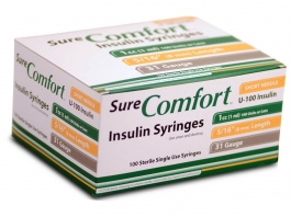 "SureComfort Insulin Syringe 31 Gauge, 1cc, 5/16"" Needle - 100 Count"