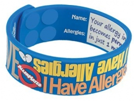 """AllerMates """"I Have Allergies"""" Writable Wristband - Size M/L"""