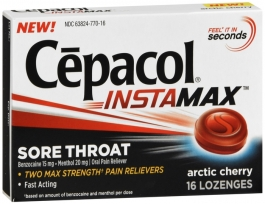 Cepacol Instamax Sore Throat Lozenges Arctic Cherry - 16 ct