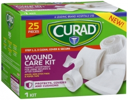 Curad Wound Care Kit: Gauze, Non-stick Pads And Paper Tape 25ct