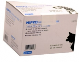 "Nipro Veterinary Insulin Syringe, 29 Gauge, 3/10 cc, 1/2"" Needle - 100 Count"