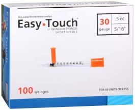 "EasyTouch Insulin Syringe 30 Gauge, .5cc, 5/16"" - 100ct"