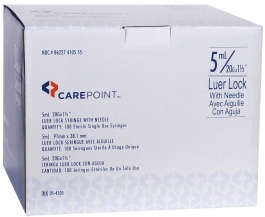 "CarePoint Insulin Syringe, 20 Gauge, 5cc, 1 1/2"" Needle - 100 Count"