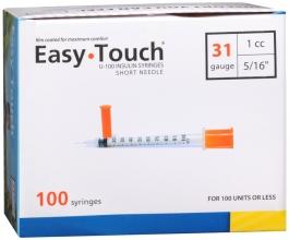 "EasyTouch Insulin Syringe 31 Gauge, 1cc, 5/16"" - 100ct"