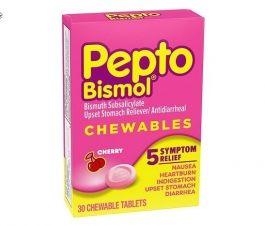 Pepto-Bismol Upset Stomach Reliever/Antidiarrheal Chewable Tablets Cherry 30ct