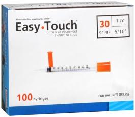 "EasyTouch Insulin Syringe 30 Gauge, 1cc, 5/16"" - 100ct"