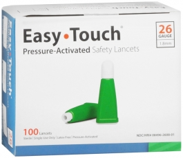 EasyTouch® Pressure Activated Safety Lancets, 26 Gauge, 1.8 mm - 100ct