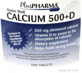 Oyster Shell Calcium 500+D - 1000 Tablets