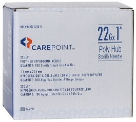 "CarePoint 22 Gauge, 1"" Poly Hub Hypodermic Needle - 100ct"