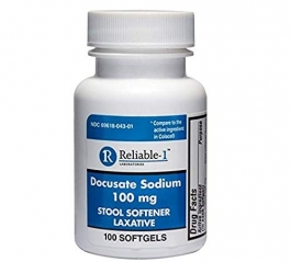 Reliable 1 Docusate Sodium 100mg Stool Softener Laxative 100 Softgels