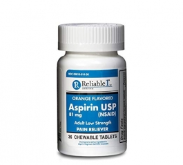 Enteric Coated Aspirin USP 81mg Low Dose 36 Chewable Tablets