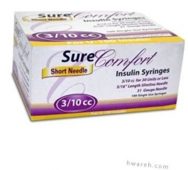 "SureComfort Insulin Syringe 31 Gauge, 3/10cc, 5/16"" Needle - 100 Count"