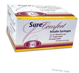 "SureComfort Insulin Syringe 28 Gauge, 1cc, 1/2"" Needle - 100 Count"