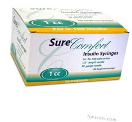 """SureComfort Insulin Syringe 29 Gauge, 1cc, 1/2"""" Needle - 100 Count"""