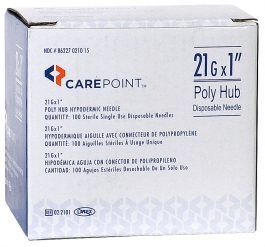 """CarePoint 21 Gauge, 1"""" Poly Hub Hypodermic Needle - 100ct"""