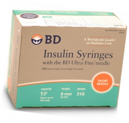 "BD Ultrafine Insulin Syringe 31 Gauge, 1cc, 5/16"" Needle -100 Count"
