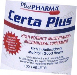 Certa Plus Multivitamin Multimineral Supplement - 100 Tablets