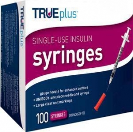 "TRUEplus Insulin Syringes 30 Gauge, .3cc, 5/16"" Needle- 100ct"