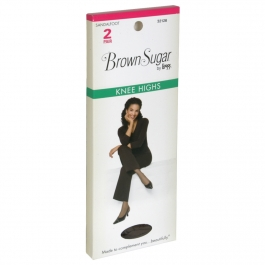 L'eggs Brown Sugar Knee High Panty Hose, Medium, Jet Black - 2 pack