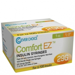 "Clever Choice ComfortEZ Insulin Syringes 29 Gauge, 1cc, 1/2"", 100ct"