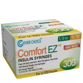 "Clever Choice ComfortEZ Insulin Syringes 30 Gauge, 1/2cc, 5/16"", 100ct"
