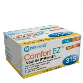 "Clever Choice ComfortEZ Insulin Syringes 31 Gauge, 1cc, 5/16"", 100ct"