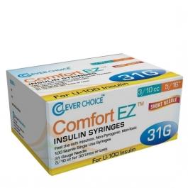 "Clever Choice ComfortEZ Insulin Syringes 31 Gauge, 0.3cc, 5/16"", 100ct"
