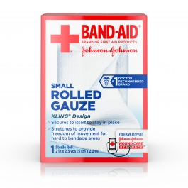 Band-Aid Rolled Gauze, 2in x 2.5 yds, 1 roll