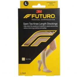 Futuro Therapeutic Knee High for Men & Women, Open Toe, Beige, Firm Compression, Size Large