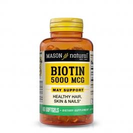 Mason Natural Super Biotin 5000 Mcg, Softgels, 60ct