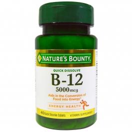 Nature's Bounty Vitamin B-12 5000mcg, 40 Quick Dissolve Tablets