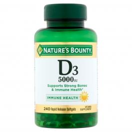 Nature's Bounty Maximum Strength Vitamin D3 5000 IU 240 Softgels
