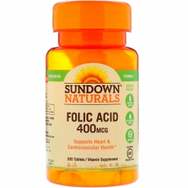 Sundown Naturals Folic Acid 400mcg, Tablets, 350ct