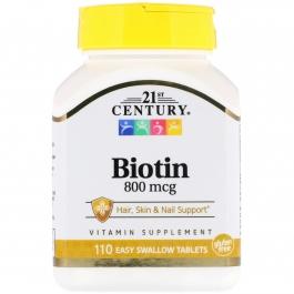 21st Century Biotin 800 mcg Tablets, 110 Ct