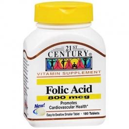 21st Century Folic Acid 800mcg Tablets - 180ct
